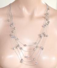 COLLANA LUNGA donna CRISTALLI argento fili strass cerimonia elegante collier N50