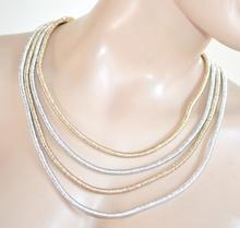 COLLANA ORO ARGENTO donna elegante girocollo maglie multi fili pendenti collier collar E2