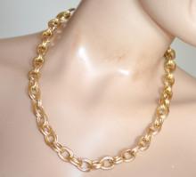 COLLANA ORO donna catena dorata girocollo anelli cerchi ragazza golden chain necklace S69