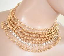 COLLANA ORO donna ELEGANTE girocollo collarino cristalli da cerimonia collier 455