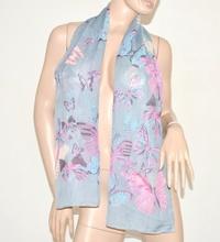 FOULARD donna seta velato stola coprispalle x vestito elegante fantasia floreale scarf  bufanda grigio perla 90