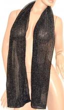 FOULARD stola NERA donna sciarpetta per abito scialle brillantini shimmer scarf 150