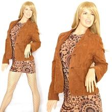 GIUBBINO donna VERA PELLE RENNA scamosciata giubbotto giacca camoscio leather jacket chaqueta куртка G09
