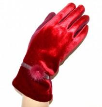 GUANTI ROSSI donna velluto eleganti invernali caldi gloves hansker перчатки G3