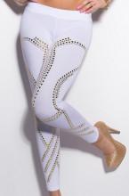LEGGINGS BIANCO donna pantalone pantacollant fuseaux borchie oro dorate vita bassa elastico AZ79