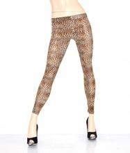 Leggings pantacollant fuseaux donna pantalone leggins skinny leopardato marrone 11