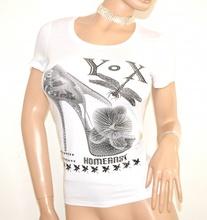 MAGLIA donna BIANCA maglietta T-SHIRT sottogiacca cotone strass mezza manica corta girocollo E126