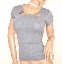 MAGLIA donna maglietta GRIGIO elegante sottogiacca T-SHIRT manica corta girocollo cotone E98