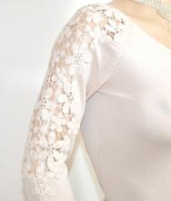 MAGLIETTA BEIGE AVORIO donna elegante manica lunga ricamata maglia sottogiacca cerimonia E35
