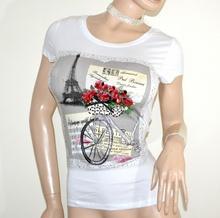 MAGLIETTA BIANCA donna t-shirt maglia manica corta cotone sottogiacca strass G18