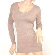 MAGLIETTA donna  BEIGE TORTORA maglia MAXI PULL manica lunga sottogiacca scollo a V maglioncino E30