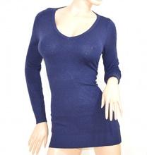 MAGLIETTA donna MAXI PULL BLU manica lunga maglia sottogiacca scollatura a V maglioncino E30