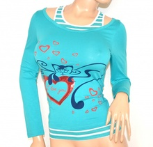 MAGLIETTA donna TURCHESE sottogiacca maglia manica lunga t-shirt cotone F50