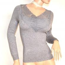 MAGLIETTA GRIGIO donna maglia manica lunga maglione sottogiacca pizzo ricamo F110