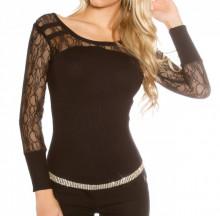 MAGLIETTA NERA donna sottogiacca manica lunga ricamata maglia maglione pullover AZ1
