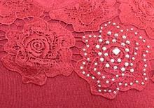 MAGLIETTA ROSSA donna maglia manica lunga strass sottogiacca ricamata maglione F90