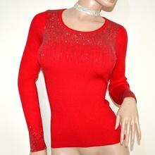 MAGLIETTA ROSSA donna manica lunga sottogiacca maglia girocollo maglioncino A15