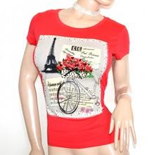 MAGLIETTA rossa donna t-shirt maglia manica corta sottogiacca strass underjacket G18