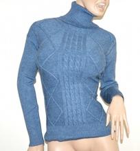 MAGLIONE AZZURRO collo alto donna maglietta manica lunga dolcevita pullover G1