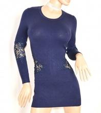 MAGLIONE BLU MAXI PULL maglietta donna lunga elegante maniche lunghe PIZZO ricamato STRASS sexy zip Z3