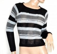MAGLIONE donna nero grigio bianco golfino pullover maglia manica lunga made in Italy G74