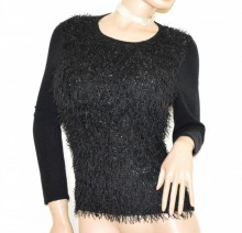 MAGLIONE donna NERO maglietta golfino maglia girocollo pullover maniche lunghe Koszulka G63