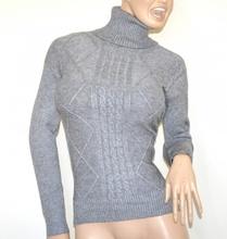 MAGLIONE GRIGIO collo alto donna maglietta manica lunga dolcevita pullover G1