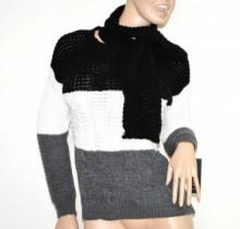 MAGLIONE nero bianco grigio + sciarpa donna maglia girocollo golfino made italy G58