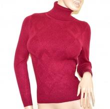MAGLIONE ROSSO CILIEGIA donna collo alto maglia manica lunga pullover dolcevita rombi A35