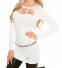 MAXI PULL BIANCO donna maglietta manica lunga strass maglione sottogiacca AZ8