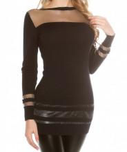 MAXI PULL NERO donna maglietta maglione manica lunga velata maglia girocollo sottogiacca AZ3