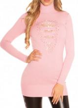 MAXI PULL ROSA donna maglione collo alto maglietta manica lunga pizzo strass AZ4