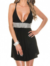 MINI ABITO NERO donna vestito giromanica scollo V strass elegante cerimonia AZ35