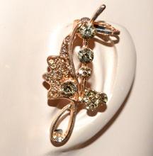 MONO ORECCHINO donna oro dorato cristalli ambra ragazza bigiotteria regalo F281