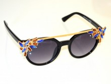 OCCHIALI da SOLE donna nere oro lenti ovali cristalli strass blu ambra bronzo sunglasses B3