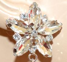 ORECCHINI ARGENTO donna fiore cristalli trasparenti gocce pendenti strass elegante sposa S49