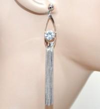 ORECCHINI argento donna multi fili pendenti lunghi cristallo strass korvakorut CC97