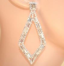 ORECCHINI ARGENTO donna strass rombi cristalli eleganti cerimonia boucles E150