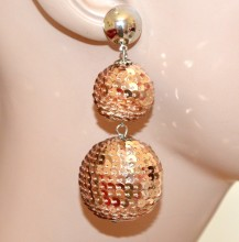 ORECCHINI argento paillettes ambra oro pendenti donna eleganti party disco A21