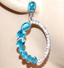 ORECCHINI argento strass donna cristalli celesti pendenti ovali eleganti G32