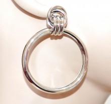 ORECCHINI cerchi argento donna pendenti metallo lucido eleganti ohrringe BB54