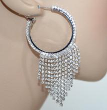 ORECCHINI CERCHI donna argento fili strass pendenti eleganti sposa earrings BB87