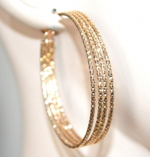 ORECCHINI cerchi oro dorati donna martellati diamantati eleganti earrings G45