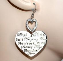 ORECCHINI CUORI donna pendenti argento strass brillantini cuoricino san valentino CC88