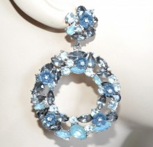 ORECCHINI donna argento cerchi pendenti cristalli acqua strass fiori blu eleganti boucles BB22