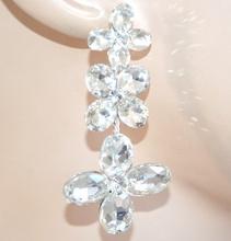 ORECCHINI donna ARGENTO cristalli fiori pendenti sposa elegante matrimonio F75X