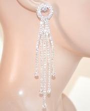 ORECCHINI donna ARGENTO eleganti sposa STRASS fili pendenti cristalli boucles E160