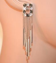 ORECCHINI donna argento strass grigio trasparenti fili pendenti boucles earrings A38