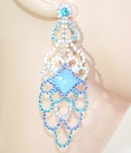 ORECCHINI donna BLU AZZURRO cristalli pendenti strass eleganti da cerimonia Z8