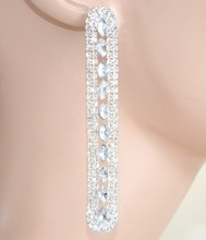 ORECCHINI donna cristalli ARGENTO strass pendenti eleganti sposa cerimonia earrings 1120